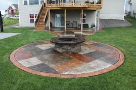 Patio And Firepit Stained Concrete Patio With A Wrapped Pit