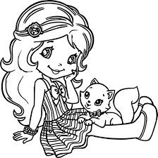 strawberry shortcake and cat coloring page wecoloringpage
