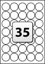 35 round labels per a4 sheet 37 mm diameter flexi labels
