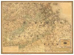 Norfolk County Wall Map Framed Massachusetts Maps