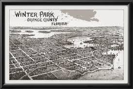 Winter Park Florida Map by Vintage City Maps Birdseye View Of Winter Park Fl
