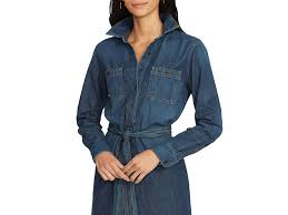 ralph lauren lauren denim shirt dress in blue lyst