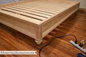 diy stained wood raised platform bed frame u2013 part 2