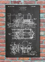wall blueprints steam locomotive patent wall art print train patent art