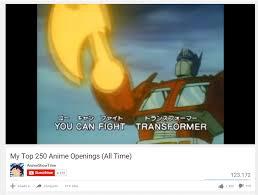 Best Anime Memes - optimus prime best anime top 10 anime list parodies know your meme