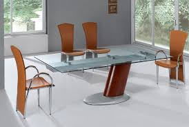Contemporary Extendable Dining Table With Glass Top And   The - Contemporary glass dining room tables