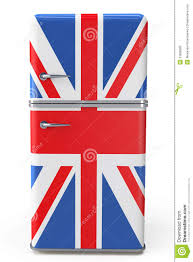 The England Flag Retro Refrigerator With The British Flag On The Door Stock