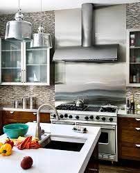 stainless steel backsplashes for kitchens kitchens bright kitchen decor with stainless steel backsplash and