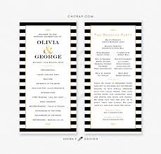gold wedding programs black white wedding program or menu card printed striped