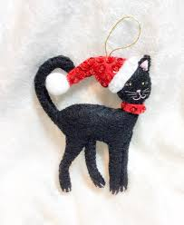 black felt cat decoration tree decor
