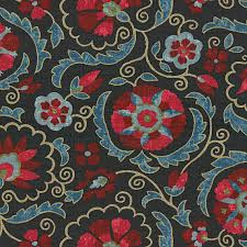 Red Drapery Fabric Navy And Red Suzani Washed Linen Fabric Mediterranean Drapery