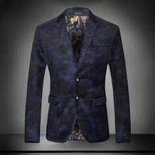 discount fabric autumn casual print slim men camouflage blue suit