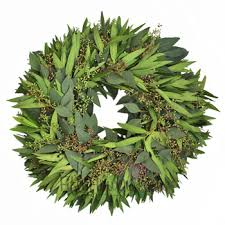 bay leaf wreath and seeded eucalyptus wreaths