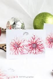 free printable diy christmas cards floral joy sustain my craft
