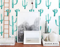 best repositionable wallpaper cactus wallpaper etsy