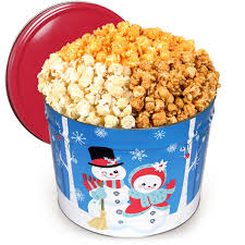 christmas tins snowman popcorn tin by gourmetgiftbaskets