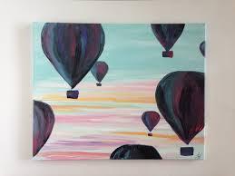 whimsical home decor air balloons dawn original art painting ready to hang