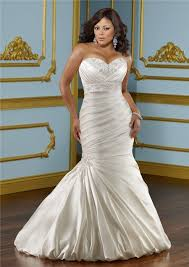 plus wedding trumpet sweetheart empire satin ruched plus size wedding dress
