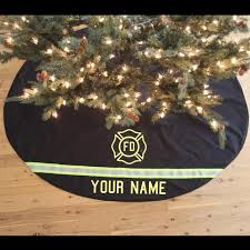 personalized tree skirt like firefighter turnout bunker