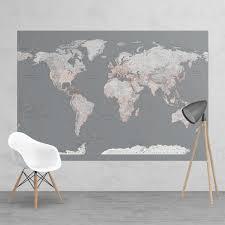 grey world map feature wall wallpaper mural silver grey world map feature wall wallpaper mural