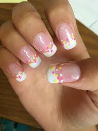 french tips acrylic bio gel nails polka dot design pink white