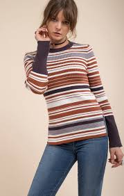 fitted sweater brown stripe fitted sweater top moon river