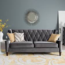 living room tufted modern sectional sofa in grey with sunburst