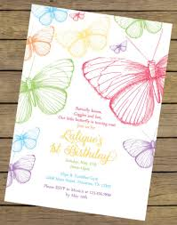 Free First Birthday Invitation Cards Template Printable Flower Butterfly Birthday Invitations With