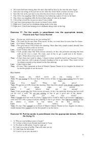 verb tense exercises answer 080912