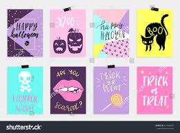 8 halloween cards set quirky cartoon stock vector 479194687