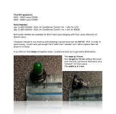 lexus ls diy diy 4es climate control bulb replacement clublexus lexus