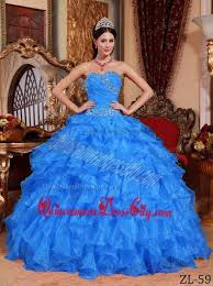 blue ball gown sweetheart floor length organza beading quinceanera