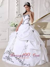 black and white quinceanera dresses white taffeta black embroidery beading sweet 16 dress new style