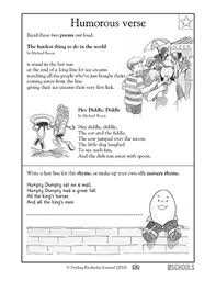1st grade reading writing worksheets poems humorous verses