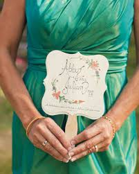 wedding program on a fan 11 wedding program fans to keep guests cool martha stewart weddings