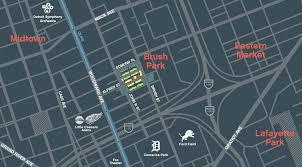 Comerica Park Map City Modern Brush Park Detroit