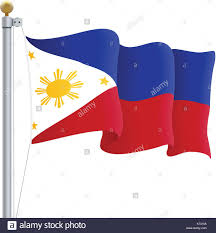 Filipino Flag Colors Waving Philippines Flag Isolated On A White Background Vector