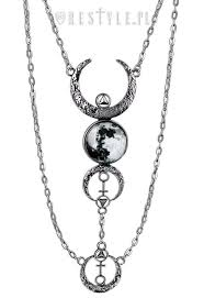 moon necklace images Full moon necklace quot crescent long pendant occult jewellery luna jpg