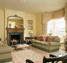 Floral Sofas In Style Concept With Beige Sofa Fabric Carved Wooden Fireplace With Mirror