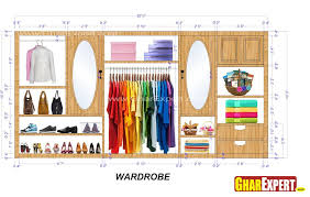 20 ft wardrobe interior detailing with 2 drawers 2 looking mirror