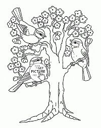 spring blooming tree coloring page for kids seasons coloring