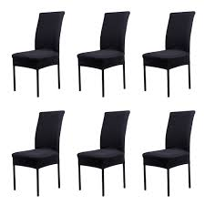 Stretch Dining Room Chair Covers Black Universal Chair Covers Premium Taffeta Chameleon Fabric