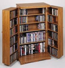 Media Cabinets With Doors Leslie Dame Cd 612w Solid Oak Multimedia Storage