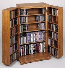 Multimedia Storage Cabinet With Doors Leslie Dame Cd 612w Solid Oak Multimedia Storage