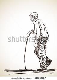 sketch walking man turned look back stock vector 364735877