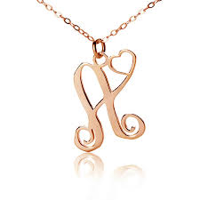 gold monogram initial necklace single initial monogram with heart necklace gold gold