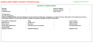 bodyguard employment contract