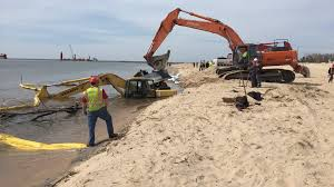 stuck construction equipment removed from lake michigan wzzm13 com