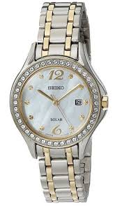 gold tone bracelet watches images Seiko solar ladies two tone bracelet watch with mother of pearl jpg