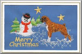 boxer dog xmas boxer dog christmas card embroidered by dogmania c4346